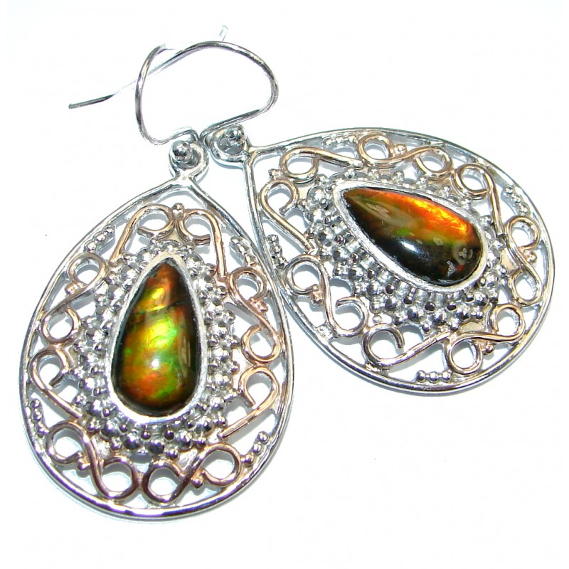 Red Aura AAA+Canadian Fire Ammolite Two Tones Sterling Silver handmade earrings