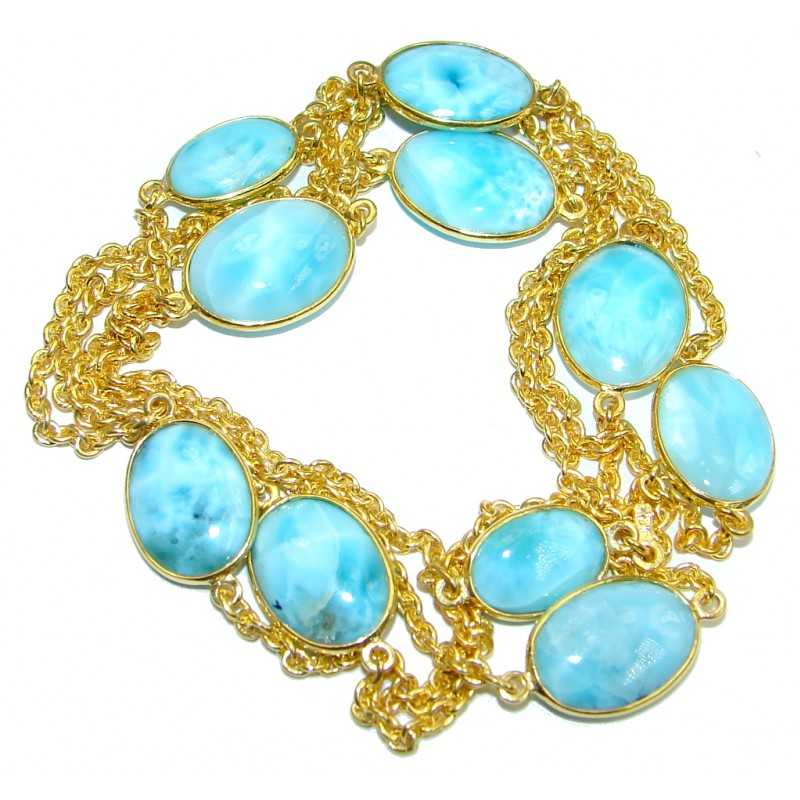 36 inches Genuine Larimar Stones Gold plated over Sterling Silver handcrafted Necklace