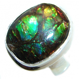 Twilight Zone Fire Genuine Canadian Ammolite Sterling Silver handmade ring size 7 adjustable
