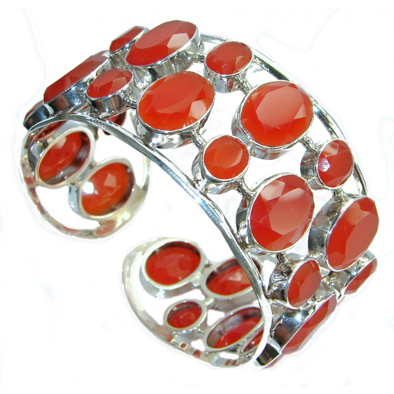 Aura Of Beauty Chunky Carnelian Agate Sterling Silver handcrafted Bracelet