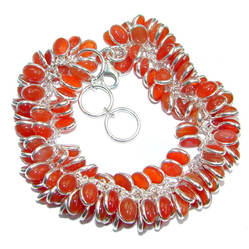 Sunset in Tuscon Authentic Carnelian Stones Sterling Silver handmade Bracelet