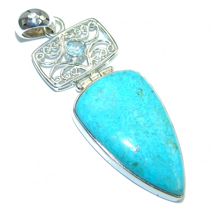 Genuine great quality Sleeping Beauty Blue Turquoise Sterling Silver handmade Pendant