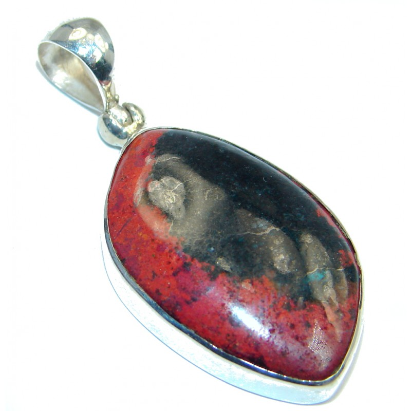 Unique Natural Sunrise Sonora Jasper Sterling Silver handmade Pendant