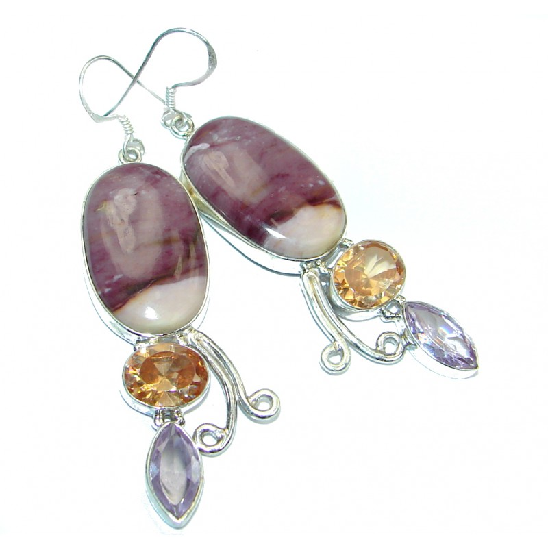 Perfect Natural Sugalite Sterling Silver handmade earrings