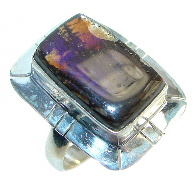 Twilight Zone Fire Genuine Canadian Ammolite Sterling Silver handmade ring size 7 1/4