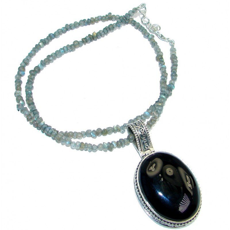 Genuine Onyx Labradorite Sterling Silver handmade necklace