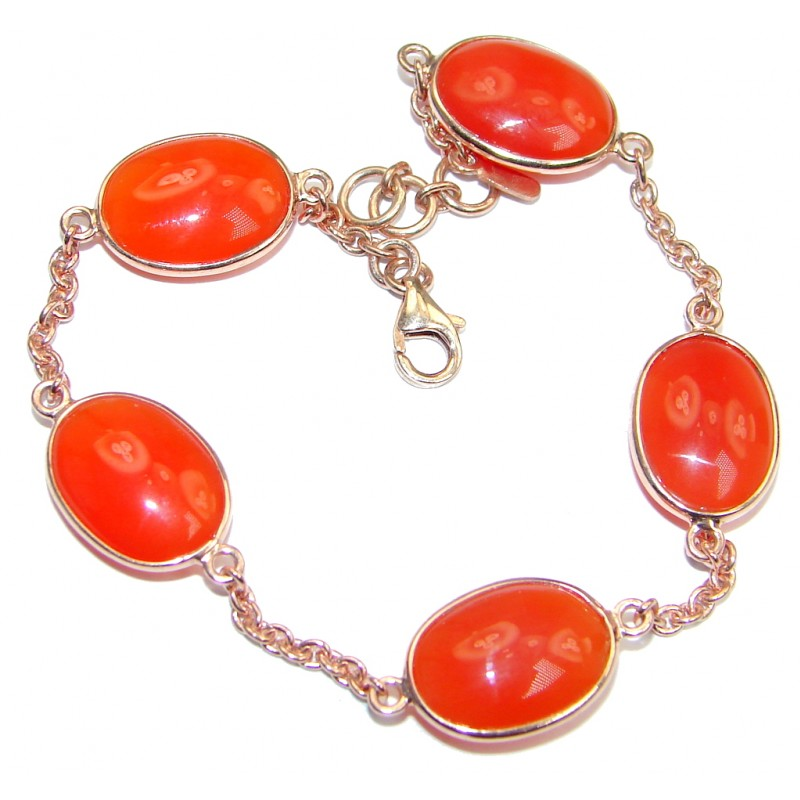 Orange genuine Carnelian Gold plated over Sterling Silver handcrafted Bracelet