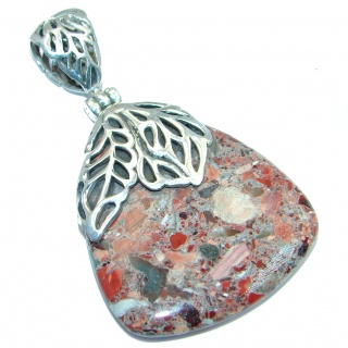 Indian Blanket Jasper from Utah Sterling Silver handmade Pendant