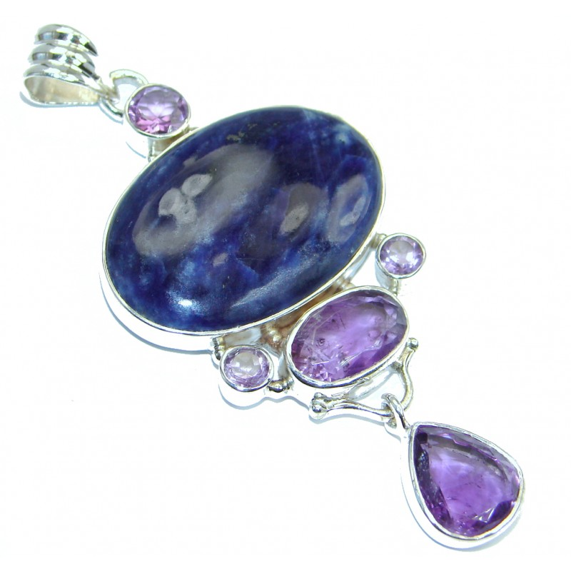 Authentic Blue Sodalite Amethyst Sterling Silver handmade Pendant