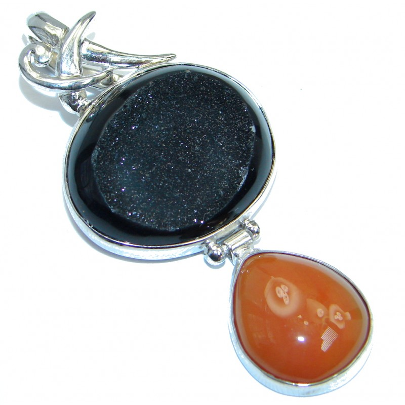 Natural Black Druzy Agate Sterling Silver handmade Pendant