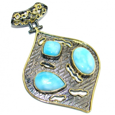 Sublime Design Authentic Beauty Larimar Gold plated over Sterling Silver handmade Pendant
