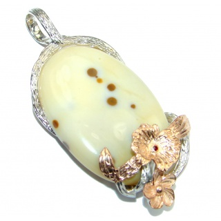 Just Perfect Gift AAA Polka Dot Agate Gold plated over Sterling Silver handmade Pendant