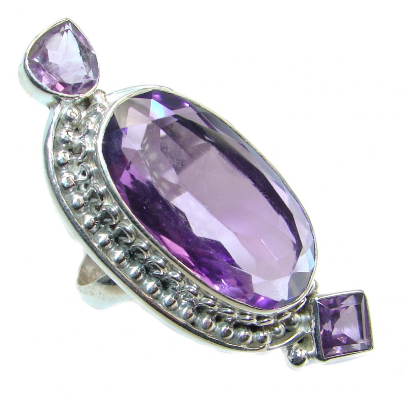 Amazing Created Amethyst Sterling Silver Ring size 10 3/4