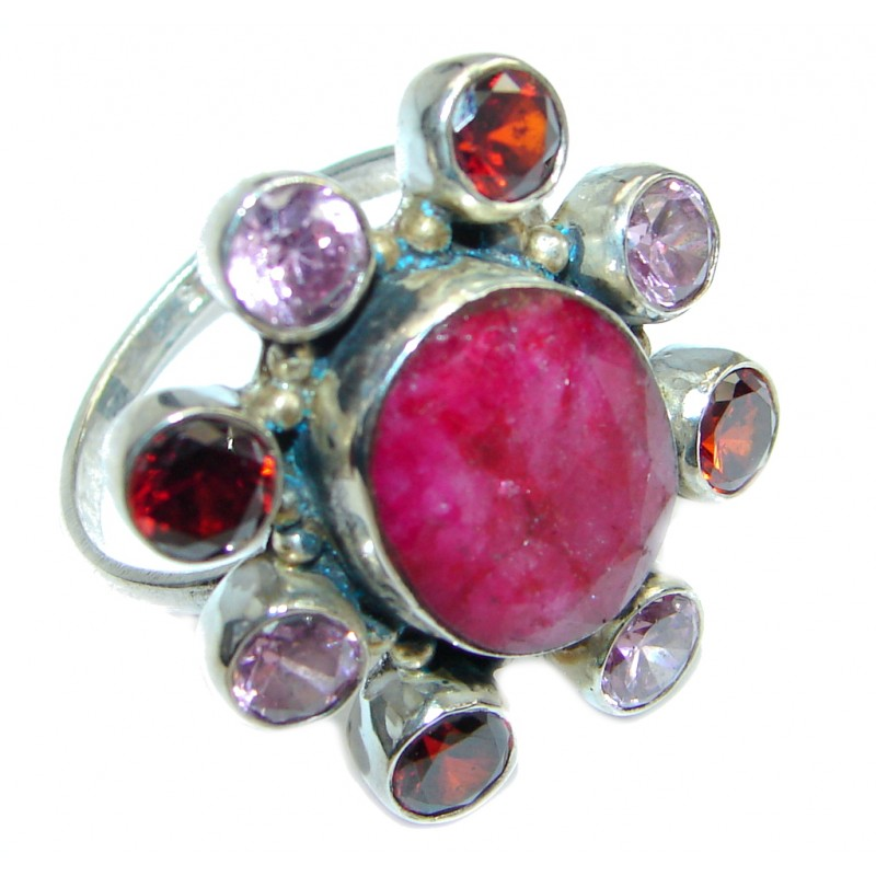 Large Ruby & White Topaz Sterling Silver ring; s. 10 1/4