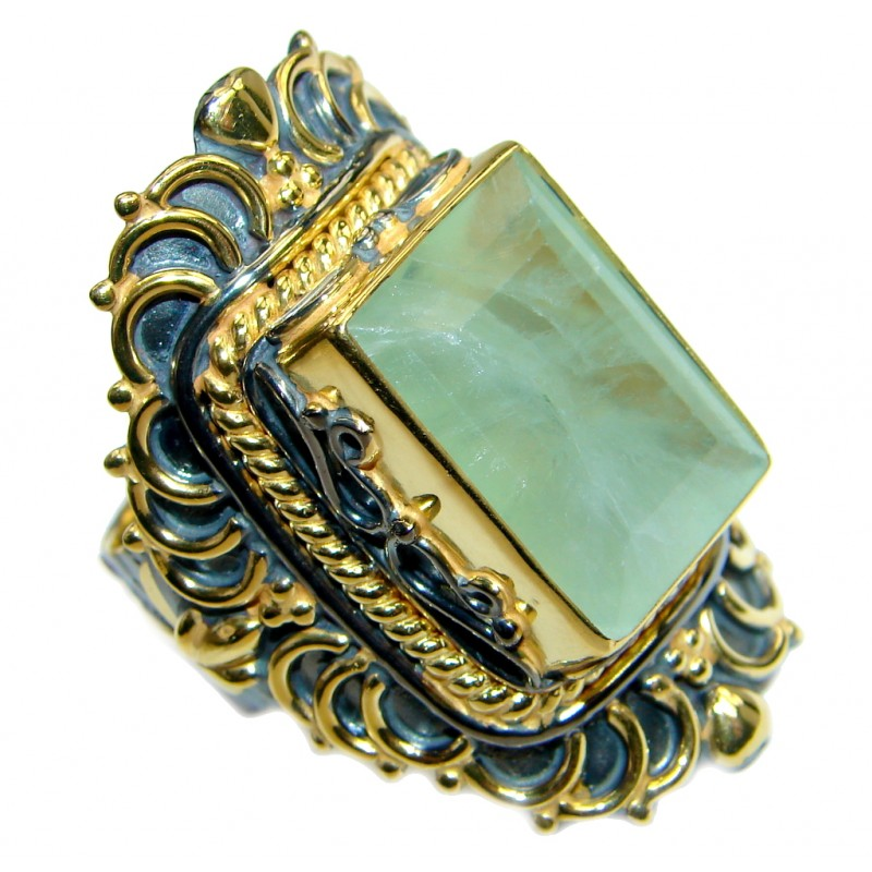 Jumbo Natural Prehnite Gold plated over 925 Sterling Silver Cocktail Ring Size 7 adjustable