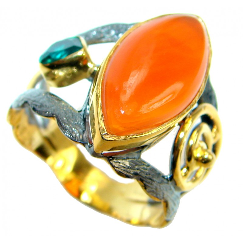 Genuine Orange Carnelian Gold Rhodium plated over Sterling Silver ring s. 9