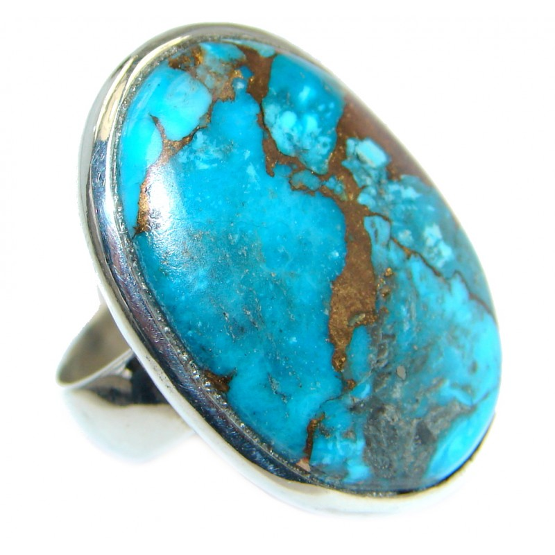 Simple Design copper Turquoise Sterling Silver handmade ring size 8