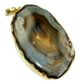 Huge 70.5 grams! Botswana Agate Gold plated over Sterling Silver handcrafted Pendant