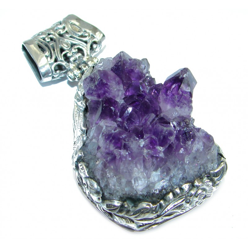 Big Purple Mountains Amethyst Cluster Sterling Silver handmade Pendant