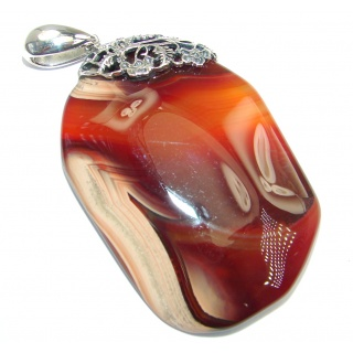 Fine Art Natural Honey color Agate Sterling Silver handmade Pendant