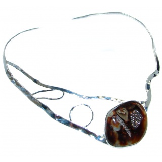 One of the kind Aura Of Beauty Genuine Fire Agate Sterling Silver handmade necklace