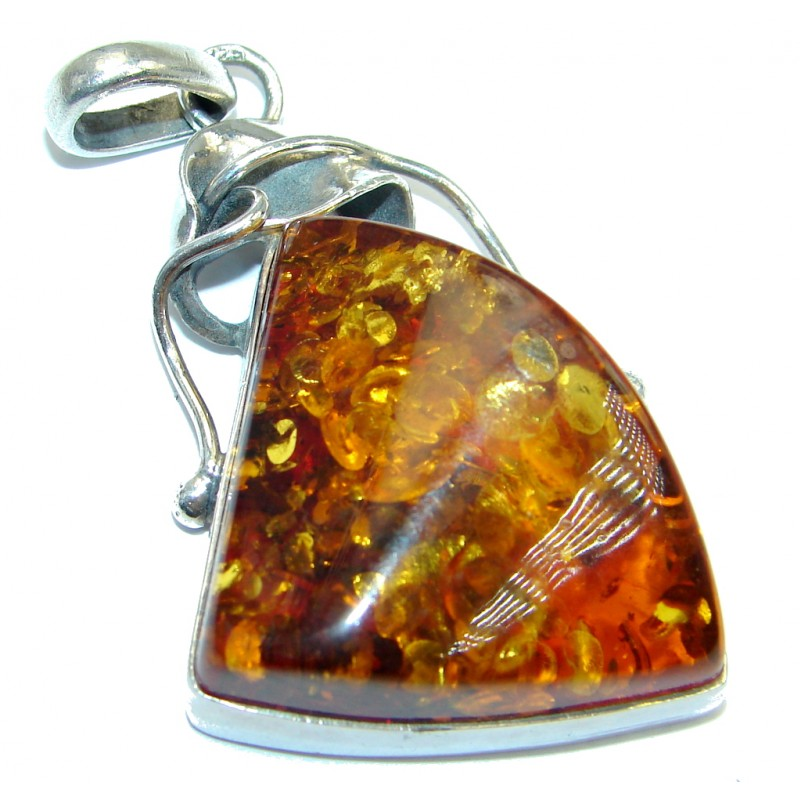 Golden Tears Genuine Baltic Polish Amber Sterling Silver handcrafted pendant