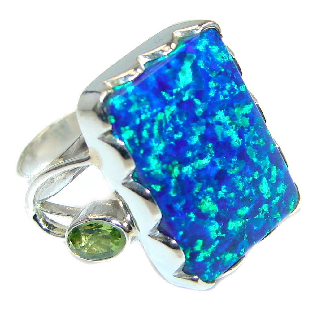 Blue Galaxy Japanese Fire Opal Sterling Silver Handcrafted