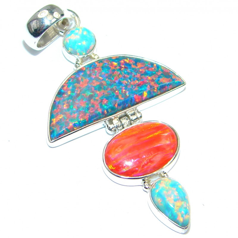 Four Friends Japanese Fire Opal Sterling Silver handmade Pendant