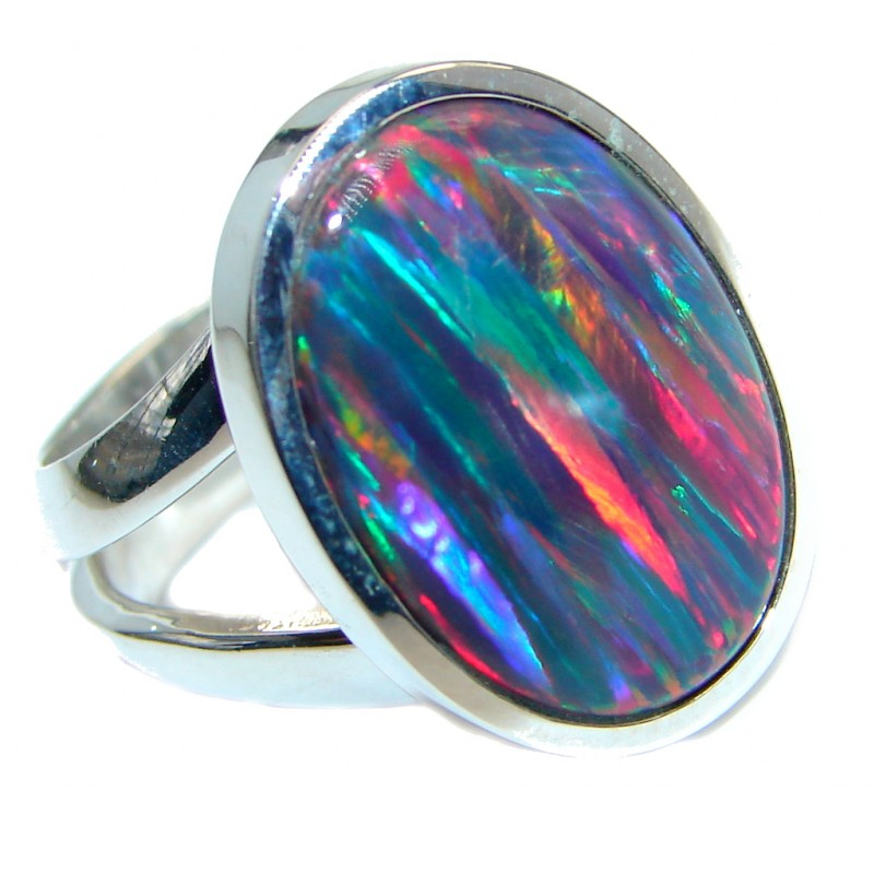 Blue Galaxy Japanese Fire Opal Sterling Silver handcrafted ring size 7 adjustable