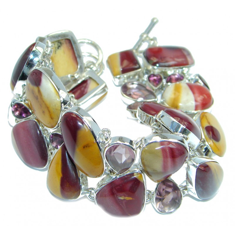 Chunky Natural Authentic Australian Mookaite Sterling Silver handmade Bracelet