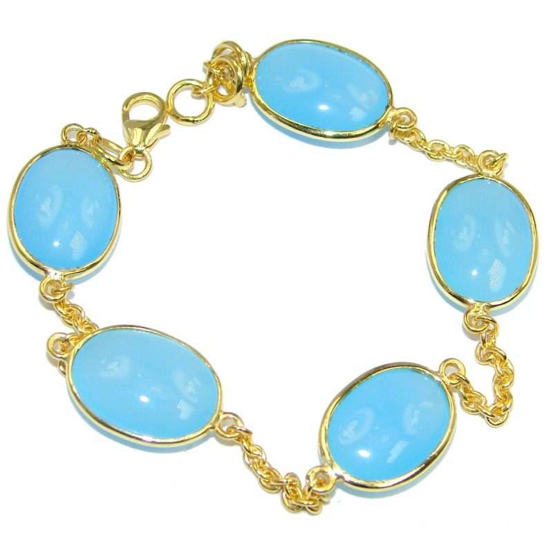 Genuine Chalcedony Agate Gold plated over Sterling Silver handcrafted Bracelet