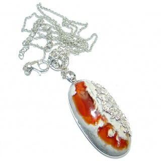 Large Master Piece genuine Mexican Opal Sterling Silver brilliantly handcrafted necklace