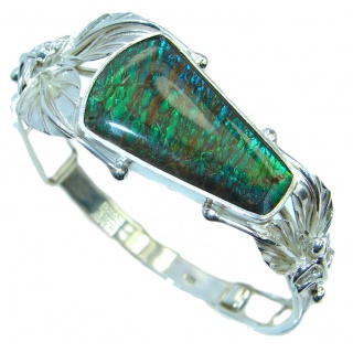 Sublime One in the World Natural Green Ammolite Sterling Silver Bracelet / Cuff