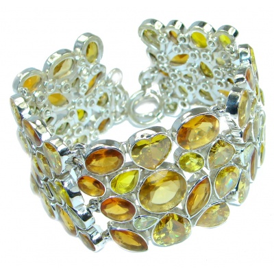 Chic Hoho Yellow River Chunky Cubic Zirconia Sterling Silver handmade Bracelet