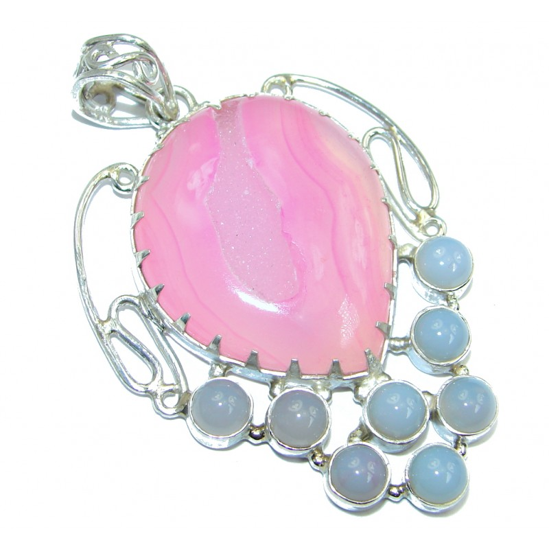 Natural pink color Druzy Agate Sterling Silver handmade Pendant
