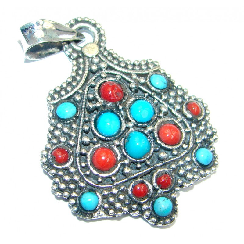 Authentic Beauty Turquoise Coral Sterling Silver handmade Pendant