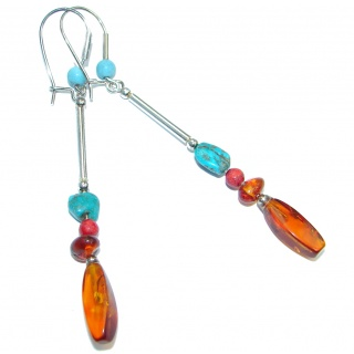 Genuine Long Baltic Polish Amber Turquoise Sterling Silver handcrafted Earrings