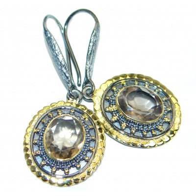 Long Smoky Topaz Gold plated over Sterling Silver handmade earrings