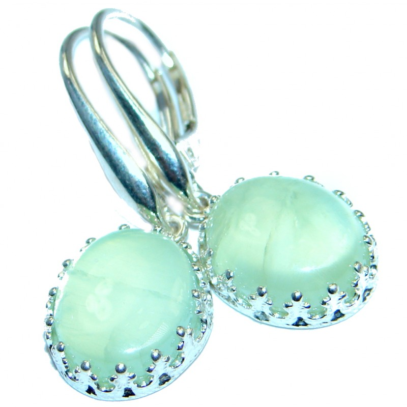 Authentic Moss Prehnite Sterling Silver handmade earrings
