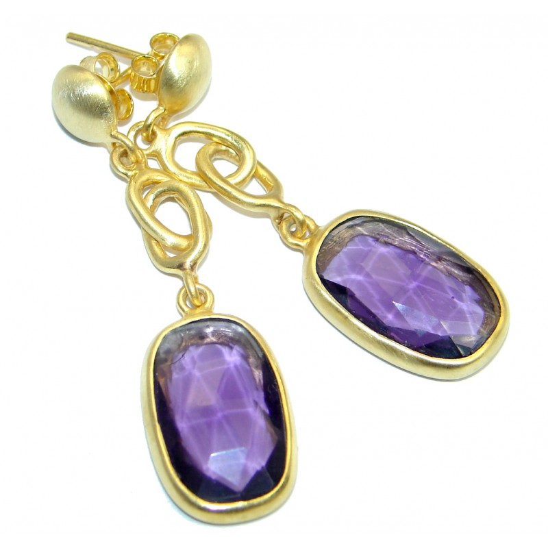 Perfect Natural Amethyst Gold plated over Sterling Silver handmade earrings