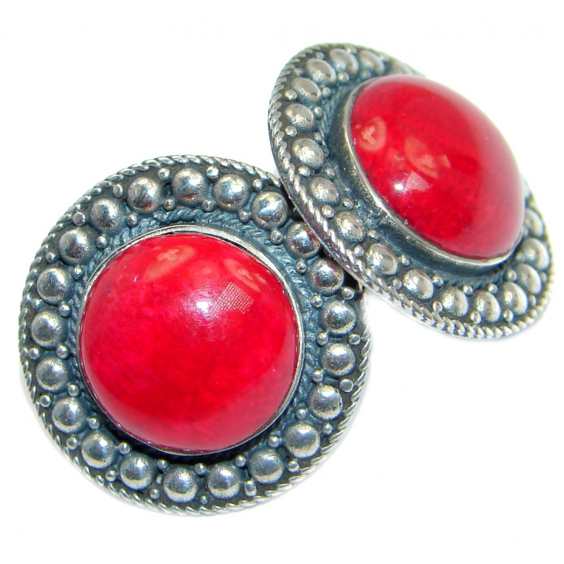 Large Red Fossilized Coral Sterling Silver handmade earrings