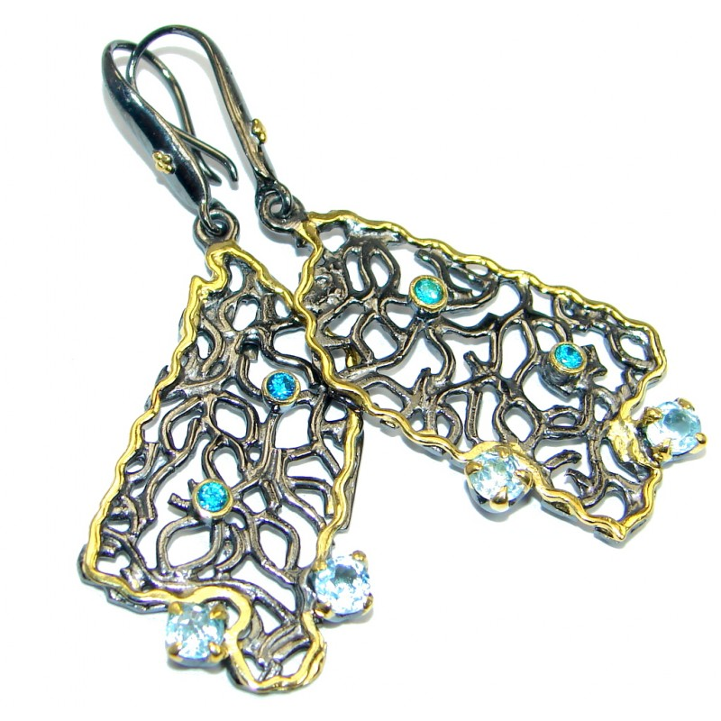 Perfect genuine Swiss Blue Topaz Gold plated over .925 Sterling Silver handmade earrings