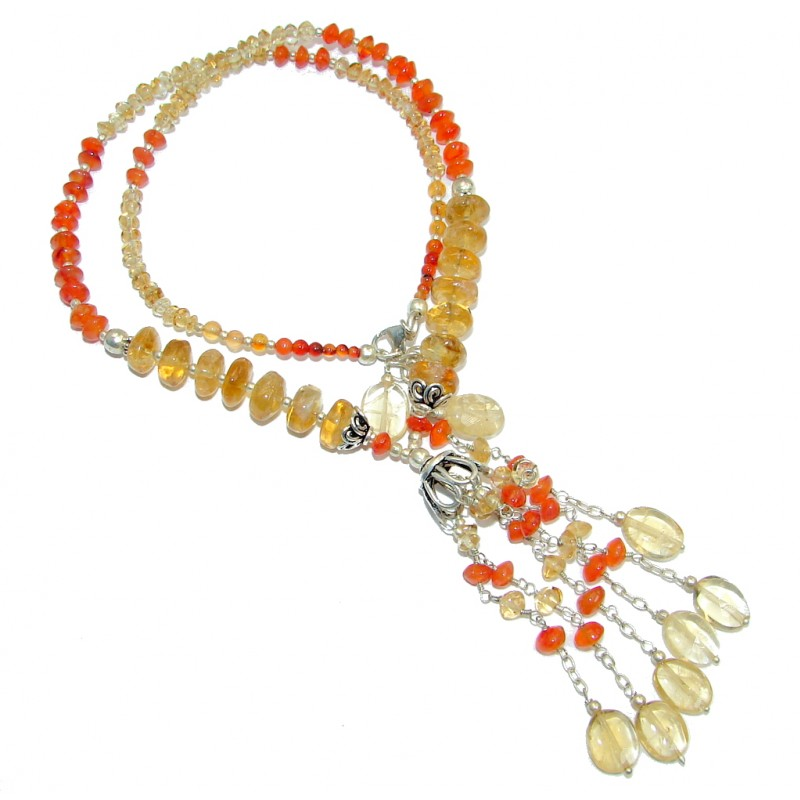 Bold Natural Carnelian Citrine Sterling Silver handmade Necklace
