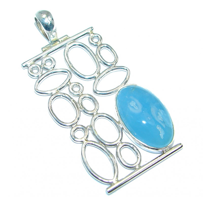 Abstract World Genuine Aquamarine Sterling Silver handmade Pendant