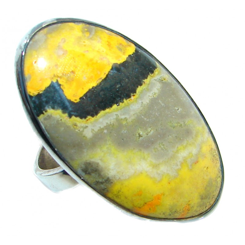 Vivid Beauty Yellow Bumble Bee Jasper Sterling Silver ring s. 10