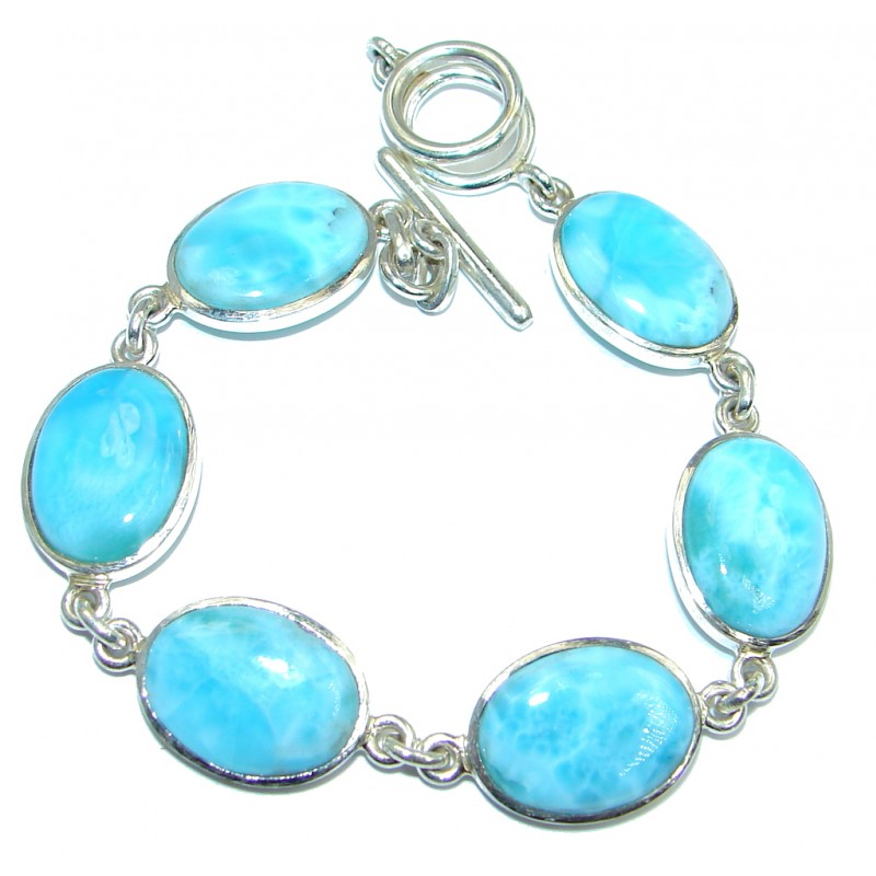 Fancy Genuine Blue Larimar Oxidized Sterling Silver handmade Bracelet