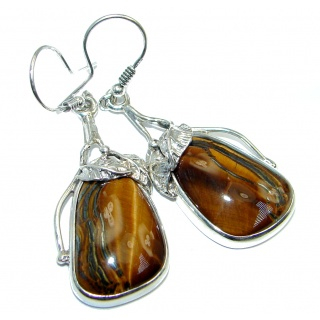 Genuine Golden Tigers Eye Oxidized Sterling Silver handmade Earrings