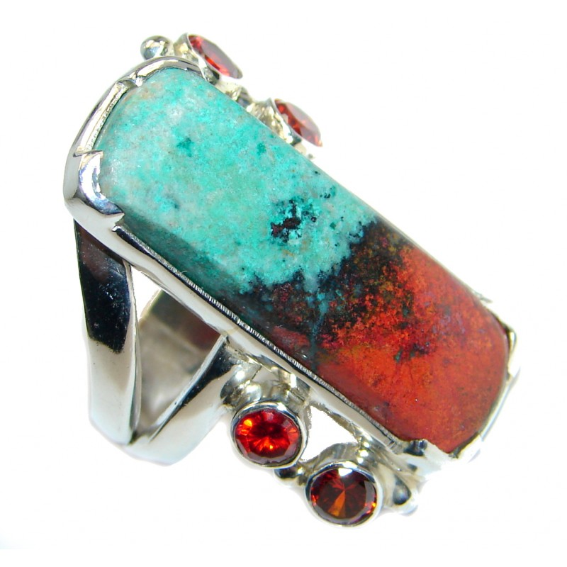 Perfect Sonora Jasper Sterling Silver handcrafted Ring size 7 1/4