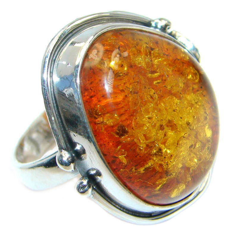 Genuine Baltic Polish Amber Sterling Silver handmade Ring size 7 adjustable