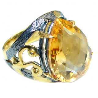 Genuine Citrine Gold plated over Sterling Silver Cocktail Ring size 5 3/4
